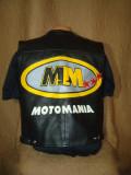 Vesta din piele naturala de bovina/barbati, tip Moto/Motor/Motociclist/MOTOMANIA, L, Negru
