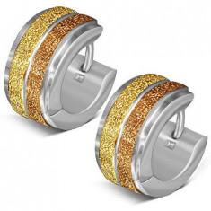 Cercei verigă din oţel, două dungi aurii, sablate
