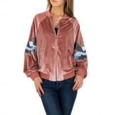Jacheta sport-casual, roz, cu aspect plusat