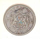 SV * Romania   5 LEI 1881 * ARGINT .835 * Regele Carol I * detalii bune, zgariat