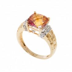 Inelaur galben18K, ornamentat cu topaz imperial si diamante