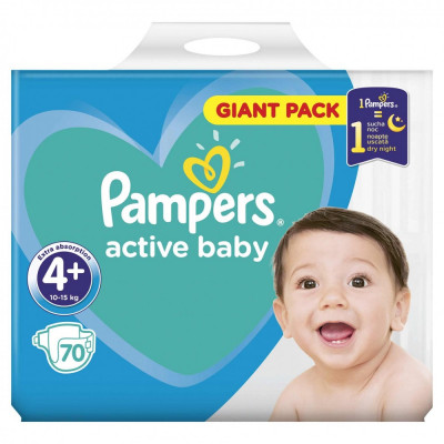 Scutece Pampers Active Baby 4+ Giant Pack 70 buc foto