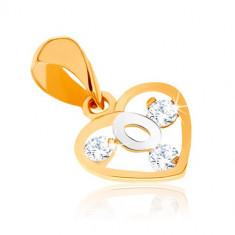 Pandantiv în două culori din aur 9K - contur inimă, buclă din aur alb, zirconii