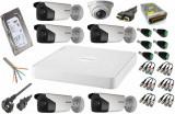 Cumpara ieftin Kit 6 camere supraveghere Full HD 2MP 1080p HikVision + DVR 8 canale 2MP HikVision + Sursa + Cablu + Mufe + HDD 1TB + Cablu HDMI