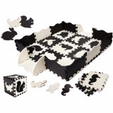 Covor puzzle cu laterale 25 piese Ikonka IK17566Negru/Gri/Bej