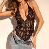 Lady Lust Lingerie Costum Body Teddy Mesh Monokini Transparent Dantela, Alb, Negru, L, S