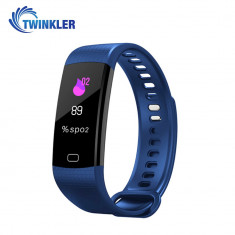 Bratara fitness inteligenta Y5 cu masurarea tensiunii arteriale si a ritmului cardiac, Albastra
