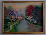 Tablou pictat PEISAJ DE PRIMAVARA, 30/40 cm, Peisaje, Ulei, Realism