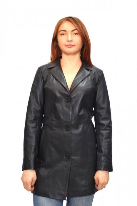 Haina dama, din piele naturala, marca Kurban, Z9-01-95, negru , marime: M