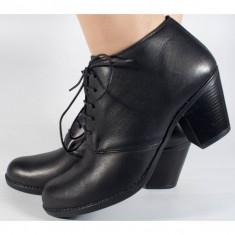 Botine/Pantofi negri din piele (cod SBF31)