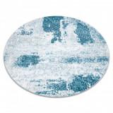 Covor MEFE modern cerc 8731 Rozetă vintage - structural două niveluri de lână cremă / albastru, cerc 120 cm