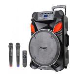 Boxa portabila karaoke Zephyr, 15 inch, acumulator incorporat, bluetooth, 2 microfoane incluse