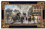 40 Centrul vechi, tablou cu peisaj urban abstract pictat in cutit 29x55 cm