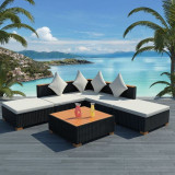 Set mobilier de grădină 15 piese, poliratan, blat WPC, negru