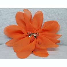 Elastic par tip floare, cu fundita din plastic, culoare portocaliu caramiziu