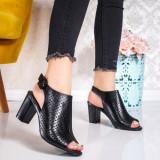 Sandale dama cu toc negre Spenila