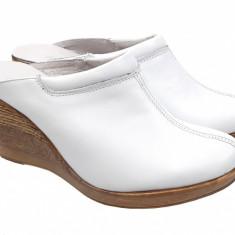 Saboti dama albi de vara din piele naturala cu perforatii - TEA19ALB