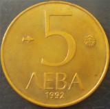 Moneda 5 LEVA - BULGARIA, anul 1992 *cod 1938