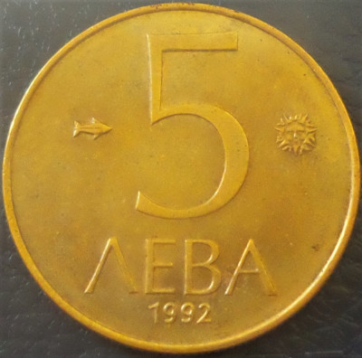 Moneda 5 LEVA - BULGARIA, anul 1992 *cod 1938 foto