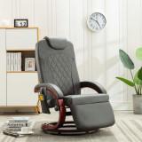 VidaXL Fotoliu de masaj rabatabil pentru TV, gri, piele ecologică
