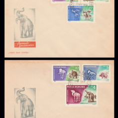 1966 Romania, 2 FDC Animale preistorice, LP 641