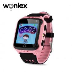 Ceas Smartwatch Pentru Copii Wonlex GW500s cu Functie Telefon, Localizare GPS, Camera, Lanterna, Pedometru, SOS - Roz, Cartela SIM Cadou