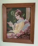 GOBLEN VECHI - Femeie citind - lucrat manual ,inramat ,sub sticla - 30 X 36 cm