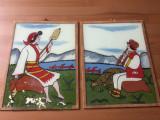 Pictura naiva pe sticla 2 picturi taranca care toarce + cioban picturi fara rame