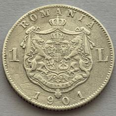 1 Leu 1901 Argint, Romania, VF, RARA!
