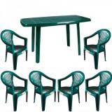 Mobiler gradina masa MUTUM cu 6 scaune Carnaval culoare verde B001002 Raki