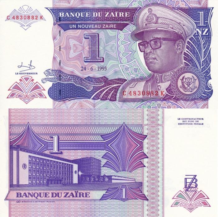 ZAIR 1 nouveau zaire 1993 UNC!!!