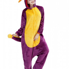PJM131-910 Pijama pufoasa intreaga cu model purple dragon
