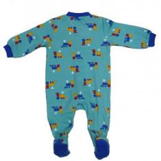 Salopeta / Pijama bebe cu trenulete Z92, 1-2 ani, 1-3 luni, 12-18 luni, 3-6 luni, 6-9 luni, 9-12 luni, Albastru