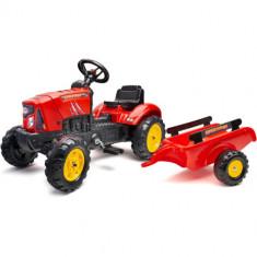 Tractor SuperCharger Rosu cu Remorca si Capota Mobila