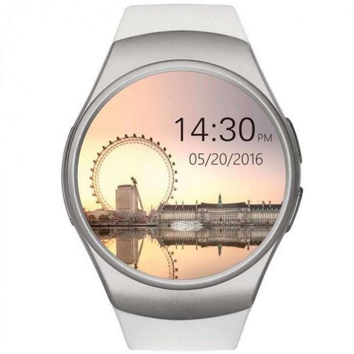 Ceas Smartwatch cu Telefon iUni KW18, Touchscreen, 1.3 Inch HD, Notificari, iOS si Android, White