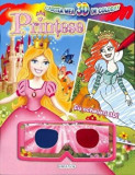 Cumpara ieftin Cartea mea 3D de colorat. Printese. Cu ochelari 3D!/***
