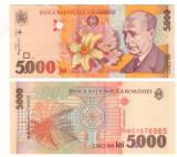 SV * Romania 2 x 5000  LEI 1998/2000 * SERII CONSECUTIVE * Filigran Drept    UNC