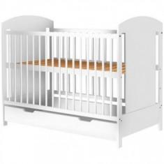 Patut copii din lemn Kamilla 120x60 cm alb cu sertar