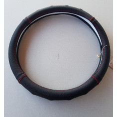 Husa volan piele naturala perforata negru cu rosu