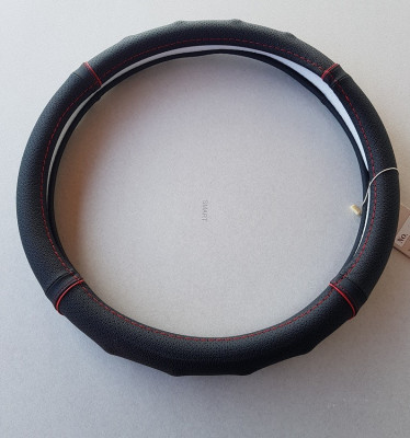 Husa volan piele naturala perforata negru cu rosu foto