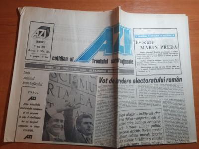 """ziarul azi 13 mai 1990-art""""misterele lui i. iliescu""""si""""proclamatia de la podul"""" foto"""