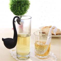 Filtru pentru ceai, infuzor, forma de lebada, culoare negru