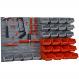 DURHAND 44bucati Suport container pentru scule cutii reglabile si detasabile montabil pe perete