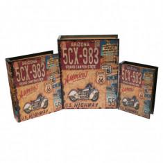 Set 3 casete, de bijuterii, tip carte, din lemn, vintage - 27452