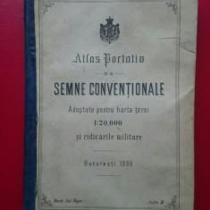 Atlas portativ de semne conventionale Bucuresti 1890 / 32 pag 17x12 cm