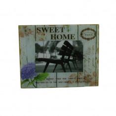 Rama foto sticla Sweet Home, suport pentru fixare birou, 10x15 cm, vintage