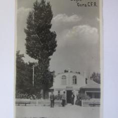 Rara! Carte postala foto 1939 cu gara din Bugaz-Basarabia(azi Zatoka in Ucraina)