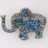 Cumpara ieftin Brosa metalica elefant cu pietricele albastre