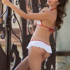 Costum Sexy Asistenta Lea, Alb Cu Rosu, S/M