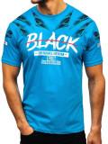 T-shirt pentru bărbați cu imprimeu turcoaz Bolf 14208